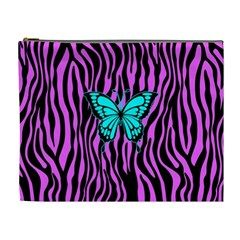 Zebra Stripes Black Pink   Butterfly Turquoise Cosmetic Bag (xl) by EDDArt