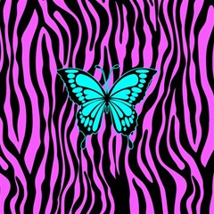 Zebra Stripes Black Pink   Butterfly Turquoise Magic Photo Cubes by EDDArt