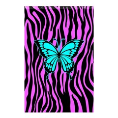 Zebra Stripes Black Pink   Butterfly Turquoise Shower Curtain 48  X 72  (small)  by EDDArt