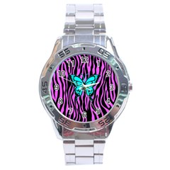 Zebra Stripes Black Pink   Butterfly Turquoise Stainless Steel Analogue Watch by EDDArt