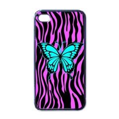 Zebra Stripes Black Pink   Butterfly Turquoise Apple Iphone 4 Case (black) by EDDArt
