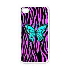 Zebra Stripes Black Pink   Butterfly Turquoise Apple Iphone 4 Case (white) by EDDArt