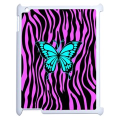 Zebra Stripes Black Pink   Butterfly Turquoise Apple Ipad 2 Case (white) by EDDArt