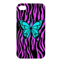 Zebra Stripes Black Pink   Butterfly Turquoise Apple Iphone 4/4s Premium Hardshell Case by EDDArt