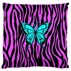 Zebra Stripes Black Pink   Butterfly Turquoise Large Cushion Case (two Sides) by EDDArt