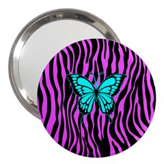 Zebra Stripes Black Pink   Butterfly Turquoise 3  Handbag Mirrors by EDDArt
