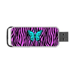 Zebra Stripes Black Pink   Butterfly Turquoise Portable Usb Flash (one Side) by EDDArt