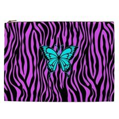 Zebra Stripes Black Pink   Butterfly Turquoise Cosmetic Bag (xxl)  by EDDArt