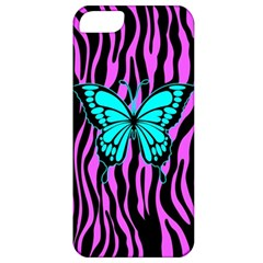 Zebra Stripes Black Pink   Butterfly Turquoise Apple Iphone 5 Classic Hardshell Case by EDDArt