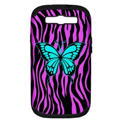 Zebra Stripes Black Pink   Butterfly Turquoise Samsung Galaxy S Iii Hardshell Case (pc+silicone) by EDDArt