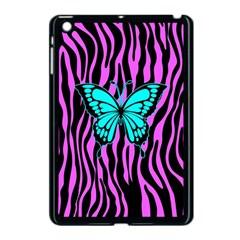 Zebra Stripes Black Pink   Butterfly Turquoise Apple Ipad Mini Case (black) by EDDArt