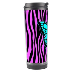 Zebra Stripes Black Pink   Butterfly Turquoise Travel Tumbler by EDDArt