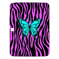 Zebra Stripes Black Pink   Butterfly Turquoise Samsung Galaxy Tab 3 (10 1 ) P5200 Hardshell Case  by EDDArt
