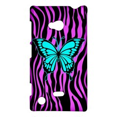 Zebra Stripes Black Pink   Butterfly Turquoise Nokia Lumia 720 by EDDArt