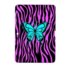 Zebra Stripes Black Pink   Butterfly Turquoise Samsung Galaxy Tab 2 (10 1 ) P5100 Hardshell Case  by EDDArt