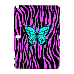 Zebra Stripes Black Pink   Butterfly Turquoise Galaxy Note 1 by EDDArt
