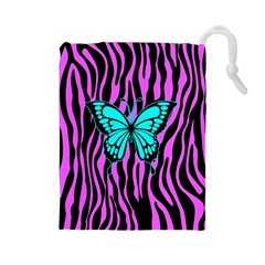 Zebra Stripes Black Pink   Butterfly Turquoise Drawstring Pouches (large)  by EDDArt