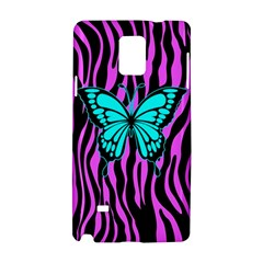 Zebra Stripes Black Pink   Butterfly Turquoise Samsung Galaxy Note 4 Hardshell Case by EDDArt