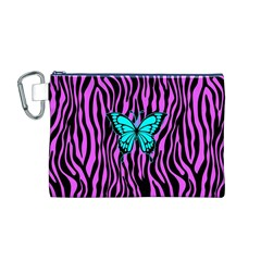 Zebra Stripes Black Pink   Butterfly Turquoise Canvas Cosmetic Bag (m) by EDDArt