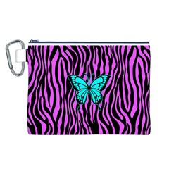 Zebra Stripes Black Pink   Butterfly Turquoise Canvas Cosmetic Bag (l) by EDDArt