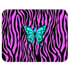 Zebra Stripes Black Pink   Butterfly Turquoise Double Sided Flano Blanket (medium)  by EDDArt