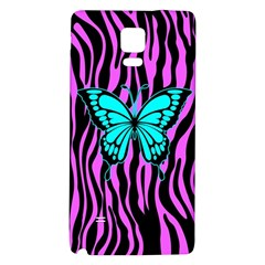 Zebra Stripes Black Pink   Butterfly Turquoise Galaxy Note 4 Back Case by EDDArt