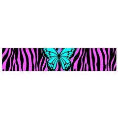 Zebra Stripes Black Pink   Butterfly Turquoise Flano Scarf (small) by EDDArt