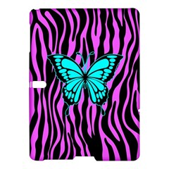 Zebra Stripes Black Pink   Butterfly Turquoise Samsung Galaxy Tab S (10 5 ) Hardshell Case  by EDDArt