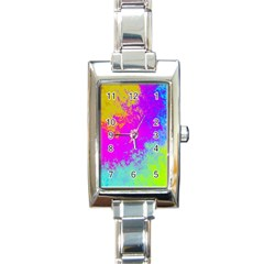 Grunge Radial Gradients Red Yellow Pink Cyan Green Rectangle Italian Charm Watch by EDDArt