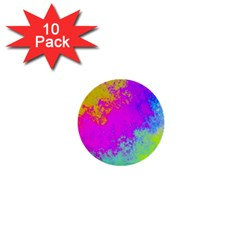 Grunge Radial Gradients Red Yellow Pink Cyan Green 1  Mini Buttons (10 Pack)  by EDDArt