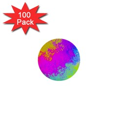 Grunge Radial Gradients Red Yellow Pink Cyan Green 1  Mini Buttons (100 Pack)  by EDDArt