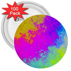 Grunge Radial Gradients Red Yellow Pink Cyan Green 3  Buttons (100 Pack)  by EDDArt