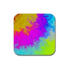 Grunge Radial Gradients Red Yellow Pink Cyan Green Rubber Square Coaster (4 Pack)  by EDDArt
