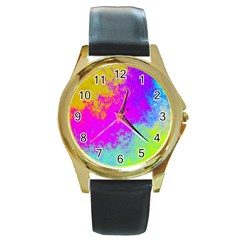 Grunge Radial Gradients Red Yellow Pink Cyan Green Round Gold Metal Watch by EDDArt