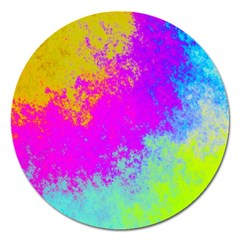 Grunge Radial Gradients Red Yellow Pink Cyan Green Magnet 5  (round) by EDDArt