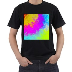 Grunge Radial Gradients Red Yellow Pink Cyan Green Men s T Shirt (black) (two Sided) by EDDArt