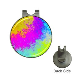 Grunge Radial Gradients Red Yellow Pink Cyan Green Hat Clips With Golf Markers by EDDArt