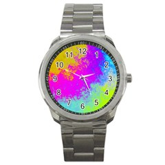 Grunge Radial Gradients Red Yellow Pink Cyan Green Sport Metal Watch by EDDArt