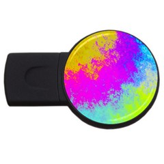 Grunge Radial Gradients Red Yellow Pink Cyan Green Usb Flash Drive Round (4 Gb) by EDDArt