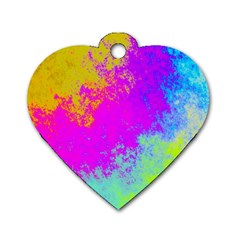 Grunge Radial Gradients Red Yellow Pink Cyan Green Dog Tag Heart (one Side) by EDDArt