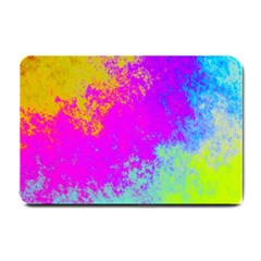Grunge Radial Gradients Red Yellow Pink Cyan Green Small Doormat  by EDDArt