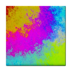 Grunge Radial Gradients Red Yellow Pink Cyan Green Face Towel by EDDArt