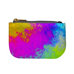 Grunge Radial Gradients Red Yellow Pink Cyan Green Mini Coin Purses by EDDArt