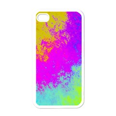 Grunge Radial Gradients Red Yellow Pink Cyan Green Apple Iphone 4 Case (white) by EDDArt