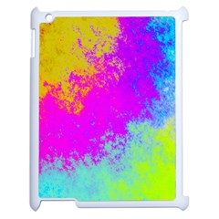 Grunge Radial Gradients Red Yellow Pink Cyan Green Apple Ipad 2 Case (white) by EDDArt