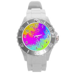 Grunge Radial Gradients Red Yellow Pink Cyan Green Round Plastic Sport Watch (l) by EDDArt