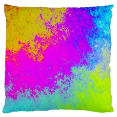 Grunge Radial Gradients Red Yellow Pink Cyan Green Large Cushion Case (one Side) by EDDArt