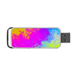 Grunge Radial Gradients Red Yellow Pink Cyan Green Portable Usb Flash (two Sides) by EDDArt