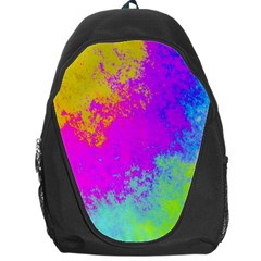 Grunge Radial Gradients Red Yellow Pink Cyan Green Backpack Bag by EDDArt