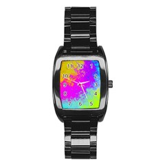 Grunge Radial Gradients Red Yellow Pink Cyan Green Stainless Steel Barrel Watch by EDDArt